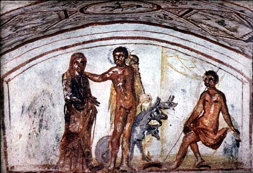 Alcesti, Ercole e Cerbero, IV sec., Roma, Catacomba di via Latina